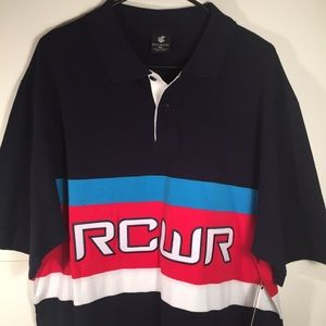 Rocawear Men's Shirt 2XL Polo Blue Red White NEW